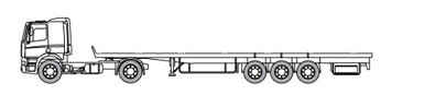 Low deck trailer with a loading capacity up to 29 metric tons