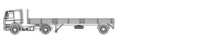 Open vrachtwagen met laadvloerlengte van 10m