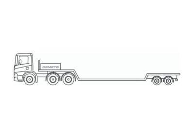 Semi-remorque extra-surbaissée avec charge utile jusqu'a 25 tonnes