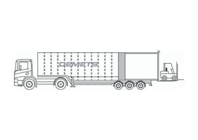 Semi-remorque fermee avec toiture ouvrable et hayon elevateur 9 tonnes