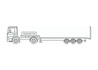 Flatbed trailer with a loading capacity up to 27 metric tons