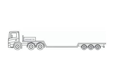 Semi-remorque extra-surbaissée avec charge utile jusqu'a 30 tonnes