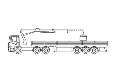 Crane truck with platform trailer