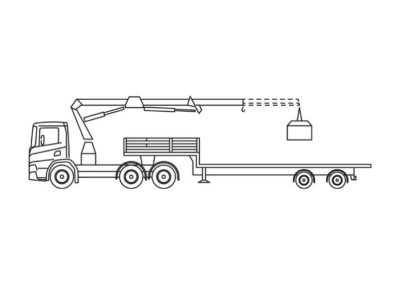 Crane truck with low flatbed trailer