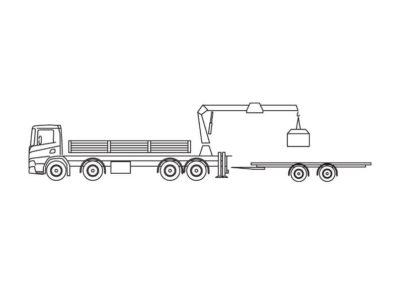 Crane truck with trailer 59T/m