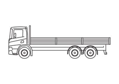 Open vrachtwagen (10T) met laadvloerlengte van 7m