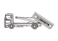 Camion porte-conteneurs pour des transports dans des acces tres difficiles ou d'une hauteur de passage limitee
