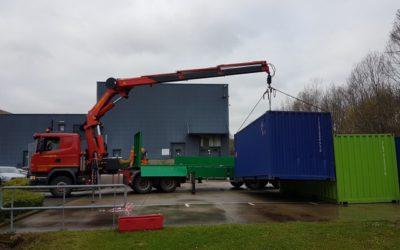 Plaatsing met kraantrekker 44 T/m van 20' containers