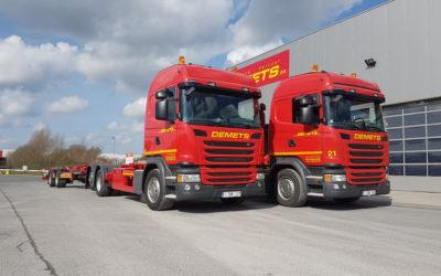 2x nieuwe vrachtwagenchassis met aanhangwagen uitgerust met BDF-systeem voor wissellaadbakken van 7.15 m -> 7.82 m – met afzethoogtes van 1.00m & 1.20 m.