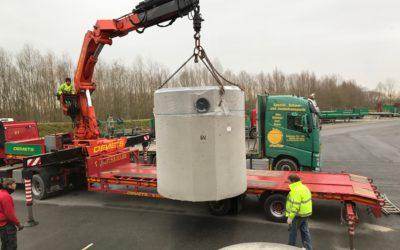 Déchargement d'un puit en béton de 8 tonnes